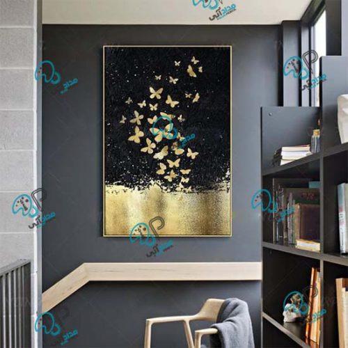 تابلو نقاشی مدرن با ورق طلا